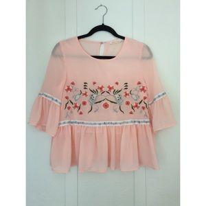 MiaoMiao Boutique Embroidered Boho Pink Top Small